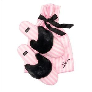 Victoria's Secret Signature Stripe Fur Slippers